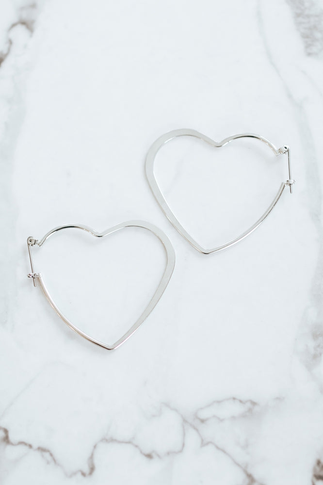 Flat Metal Heart Hoop-Glitz & Ears Boutique