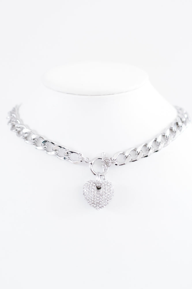 Rhinestone Heart Toggle Necklace-Glitz & Ears Boutique