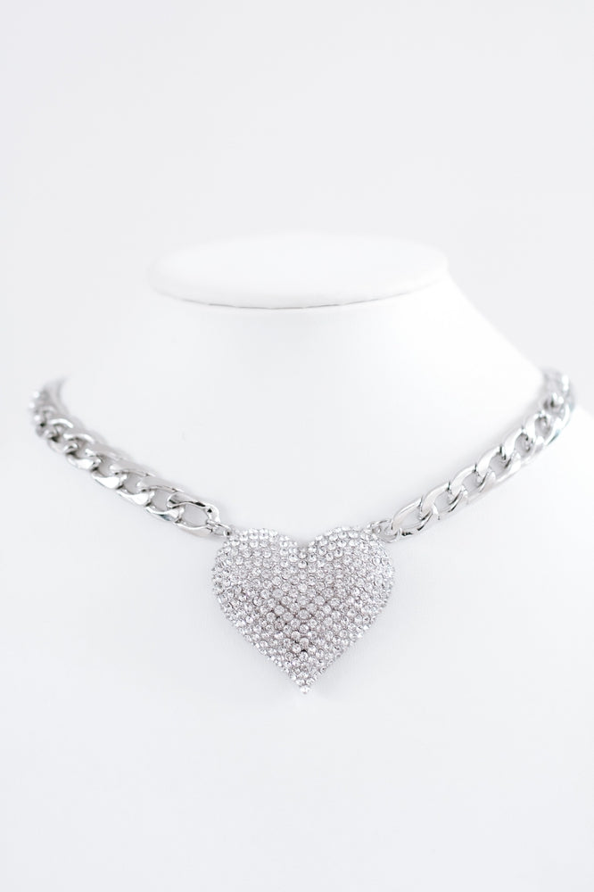 Thick Chain Rhinestone Heart Necklace-Glitz & Ears Boutique