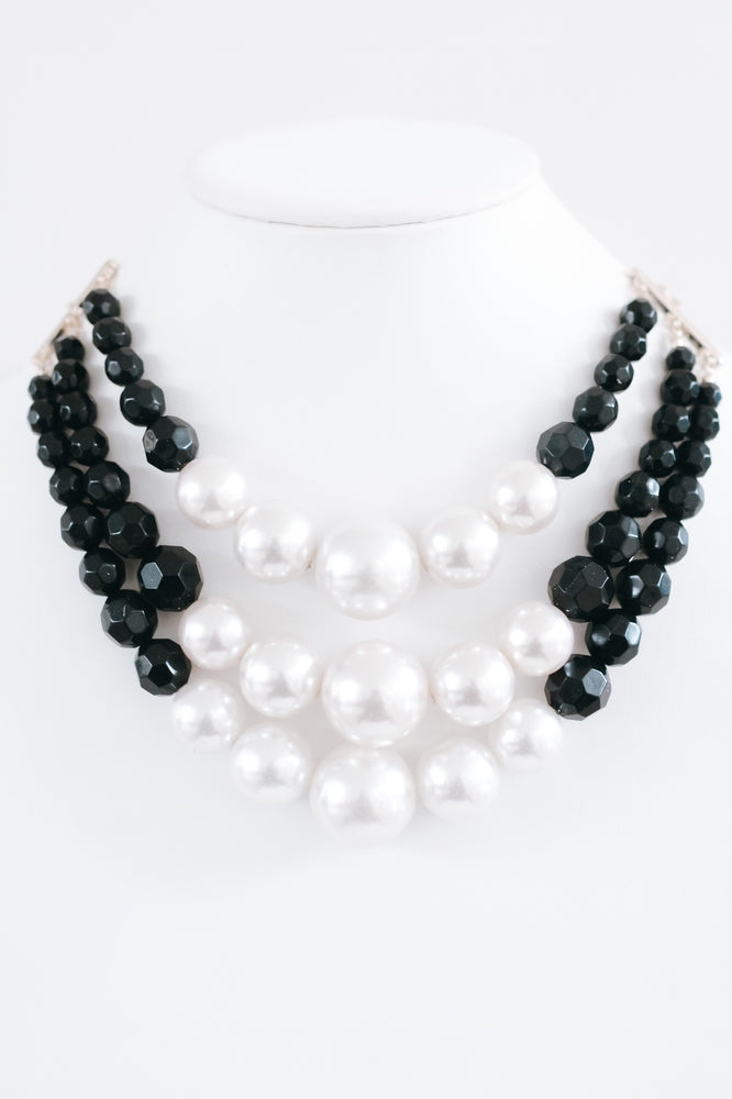 Pearl & Bead 3 Strand Necklace-Glitz & Ears Boutique