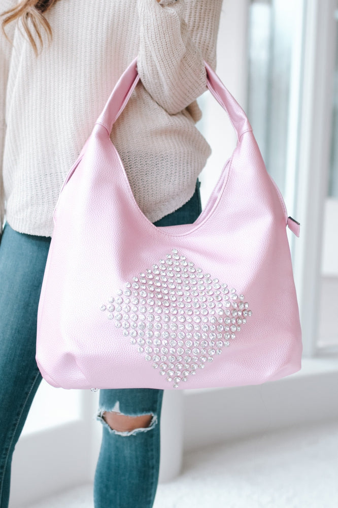 Diamond Center Hobo Bag-Glitz & Ears Boutique