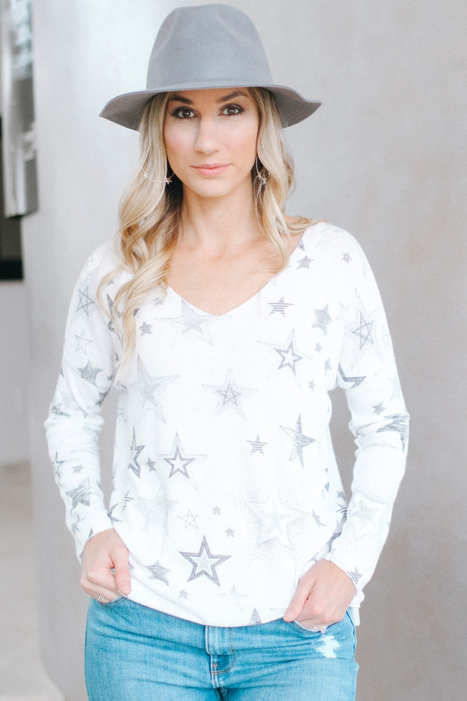 Star Print Glitter Trim Long Sleeve Top-Glitz & Ears Boutique