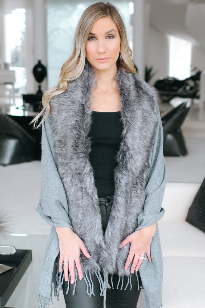 Plain Faux Fur & Fringe Shawl-Glitz & Ears Boutique