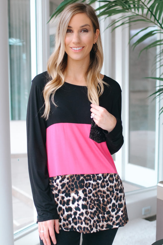 Color Block Leopard Sequin Pocket Top-Glitz & Ears Boutique