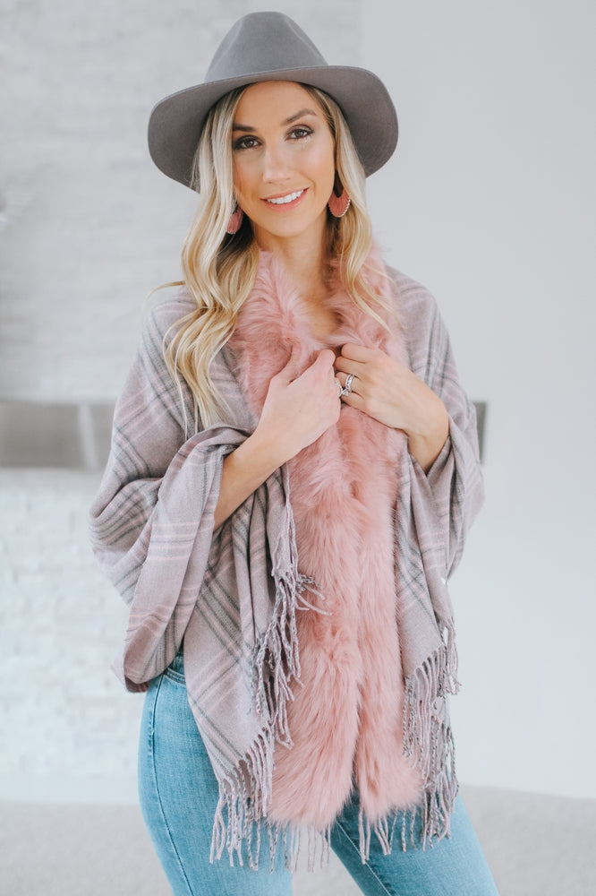 Thin Plaid Fur & Fringe Shawl-Glitz & Ears Boutique