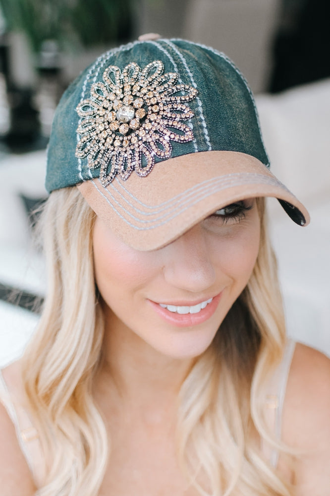 Denim Baseball Hat with Rhinestone Flower-Glitz & Ears Boutique