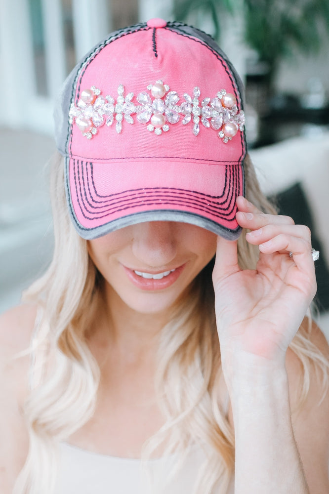 Two Tone Teardrop & Pearl Baseball Hat-Glitz & Ears Boutique