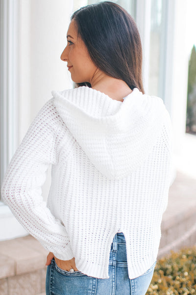 Cropped Knit Small Slit Back Hoodie