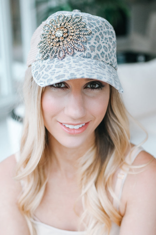 Faded Leopard Flower Side Trucker Hat-Glitz & Ears Boutique