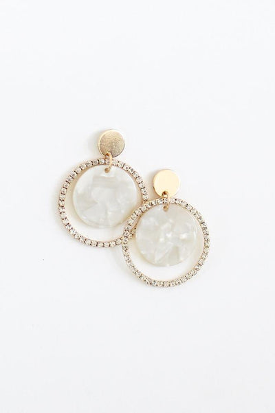 Rhinestone Ring Marble Circle Earring-Glitz & Ears Boutique