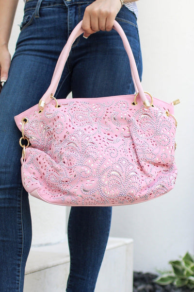 Buckled Side Rhinestone Cutout Purse - Glitz & Ears