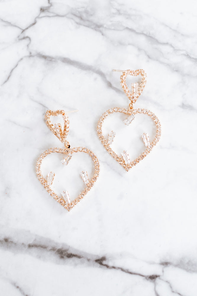 Open Heart 5 Baguette Stone Earring-Glitz & Ears Boutique