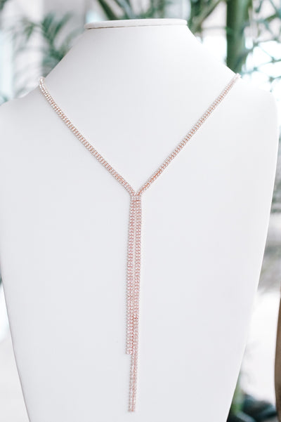 Long Two Row Rhinestone Y Necklace-Glitz & Ears Boutique