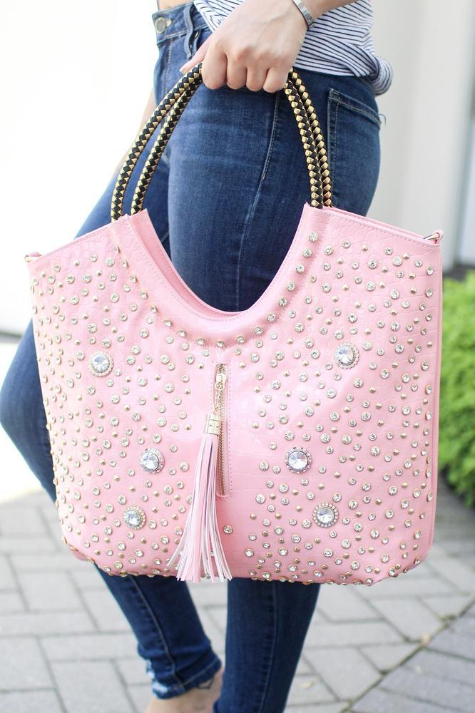 Patent Leather Tall Studded Handbag