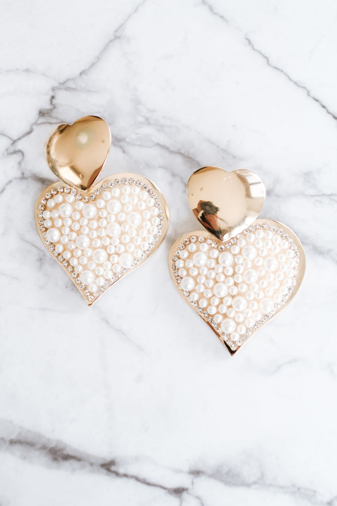 Large All Pearl Heart Dangle Earring-Glitz & Ears Boutique
