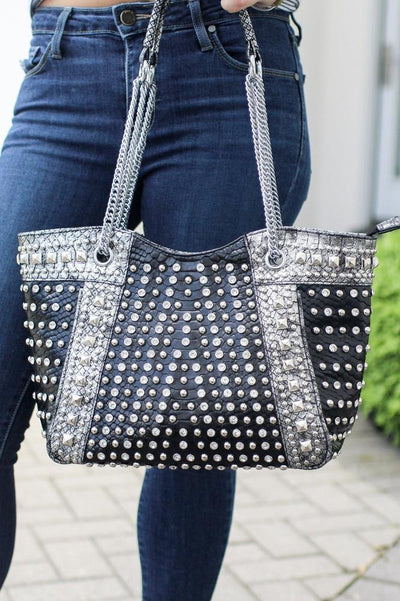 Rhinestone & Stud Patent Purse-Glitz & Ears Boutique