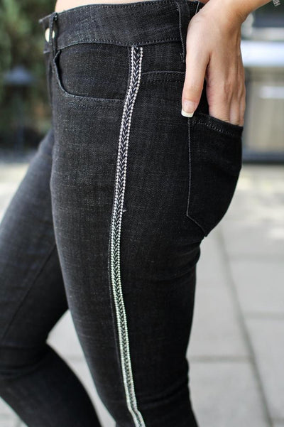 Braid Stitch Side Skinny Jean - Glitz & Ears