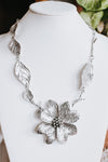 XL Metal Flower & Leaves Necklace