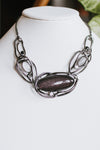 Metal Ring Long Sideway Marble Stone Necklace