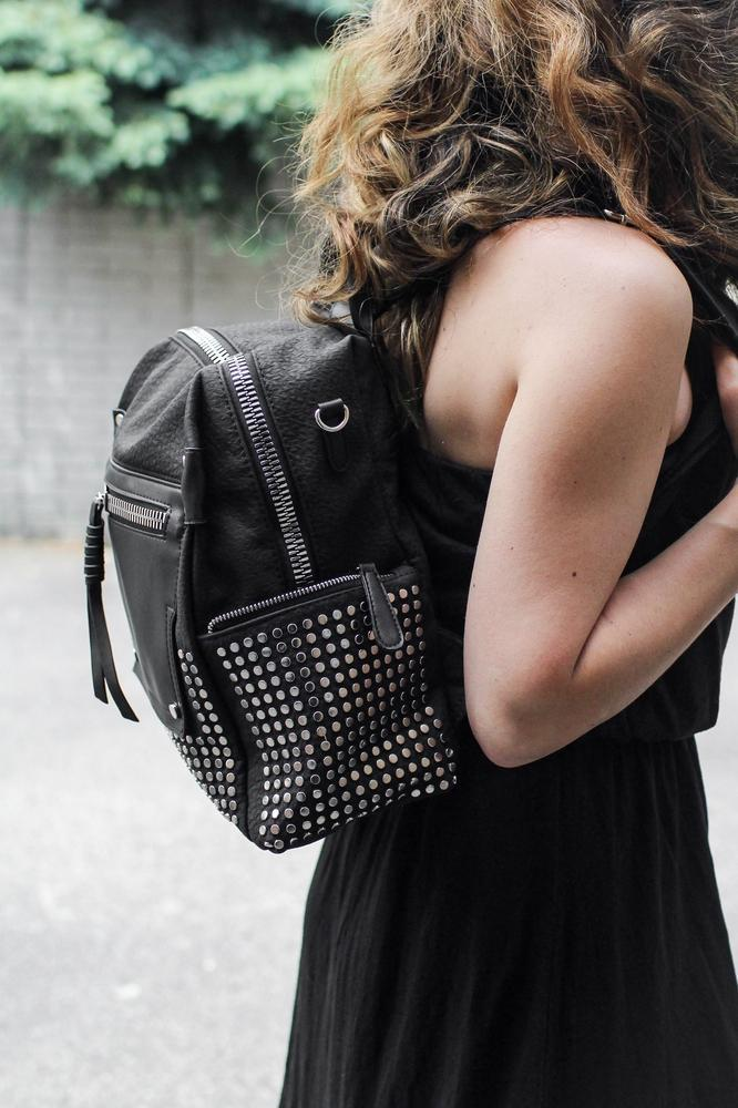 Small Studs Side Zipper Backpack