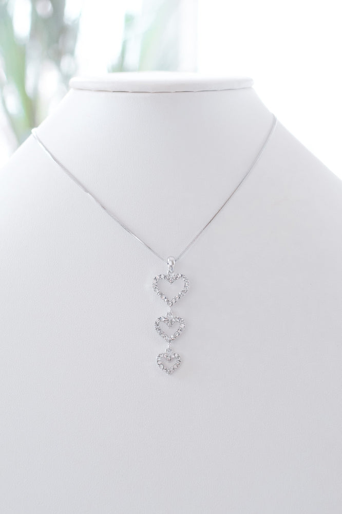 3 Open Rhinestone Heart Dangle Necklace-Glitz & Ears Boutique