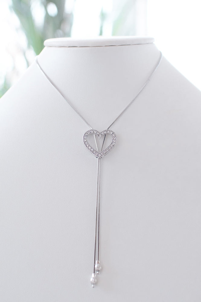 Short Open Rhinestone Heart Lariat-Glitz & Ears Boutique