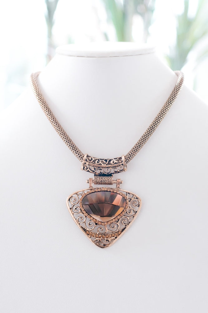 Swirl & Large Stone Triangle Necklace-Glitz & Ears Boutique
