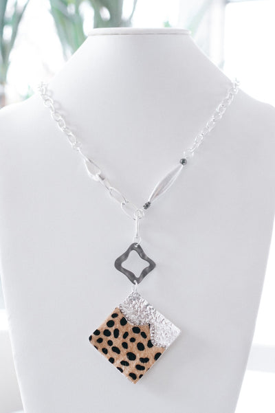 Short Hair Spot & Metal Plate Necklace-Glitz & Ears Boutique