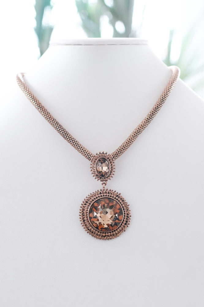 Oval & Circle Stone Two Row Trim Necklace-Glitz & Ears Boutique
