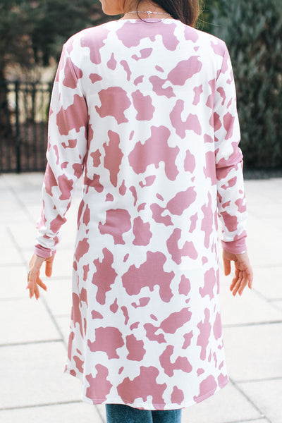 Cow Print Long Cardigan
