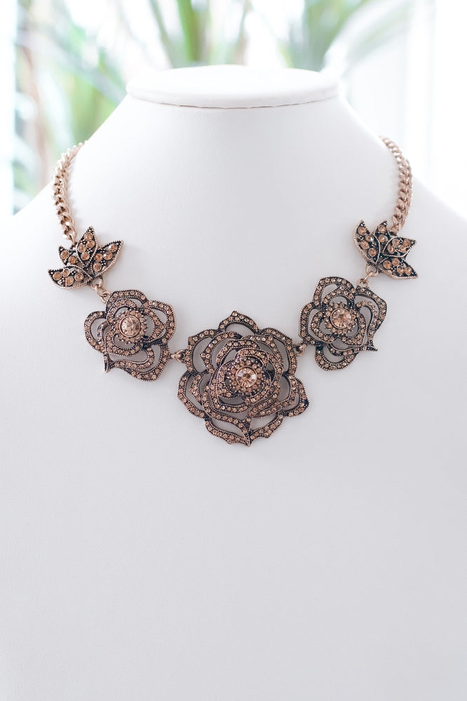 Three Rhinestone Roses & Leaves Necklace-Glitz & Ears Boutique