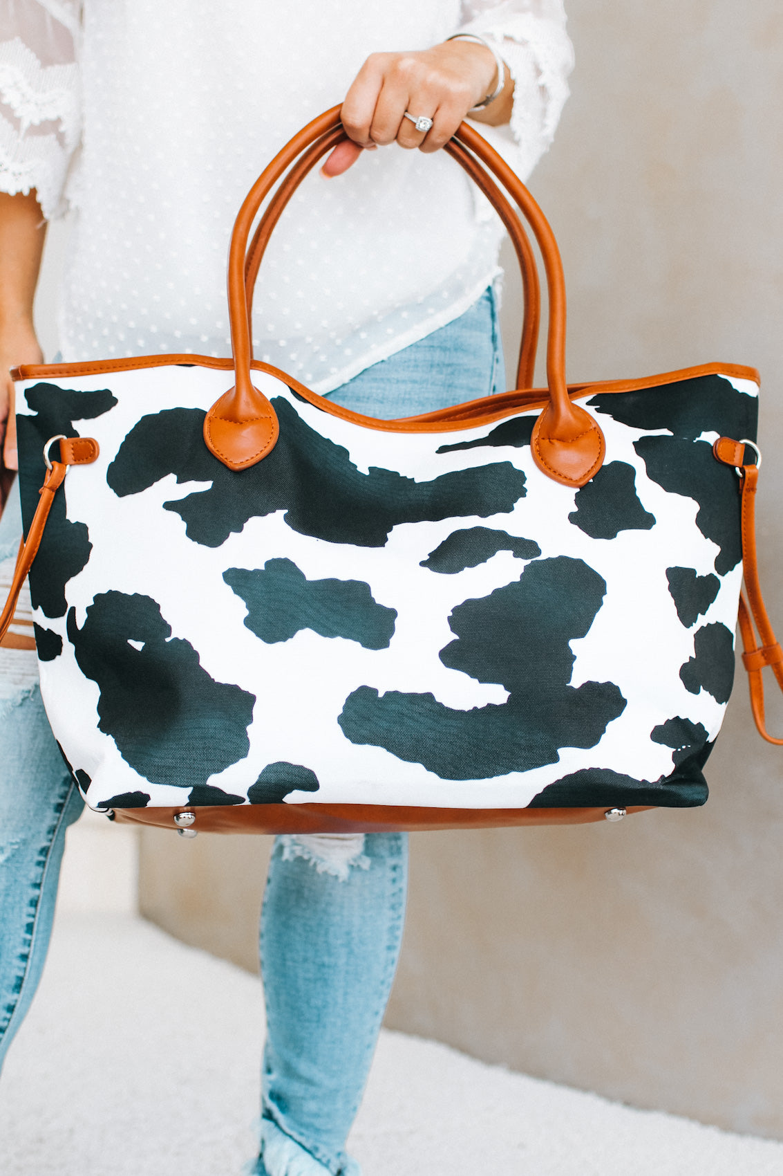 Large Cow Print Tote Bag