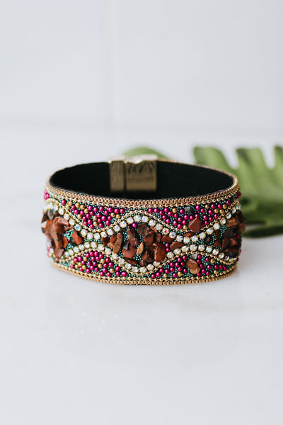 Wave Center Beaded Magnetic Bracelet