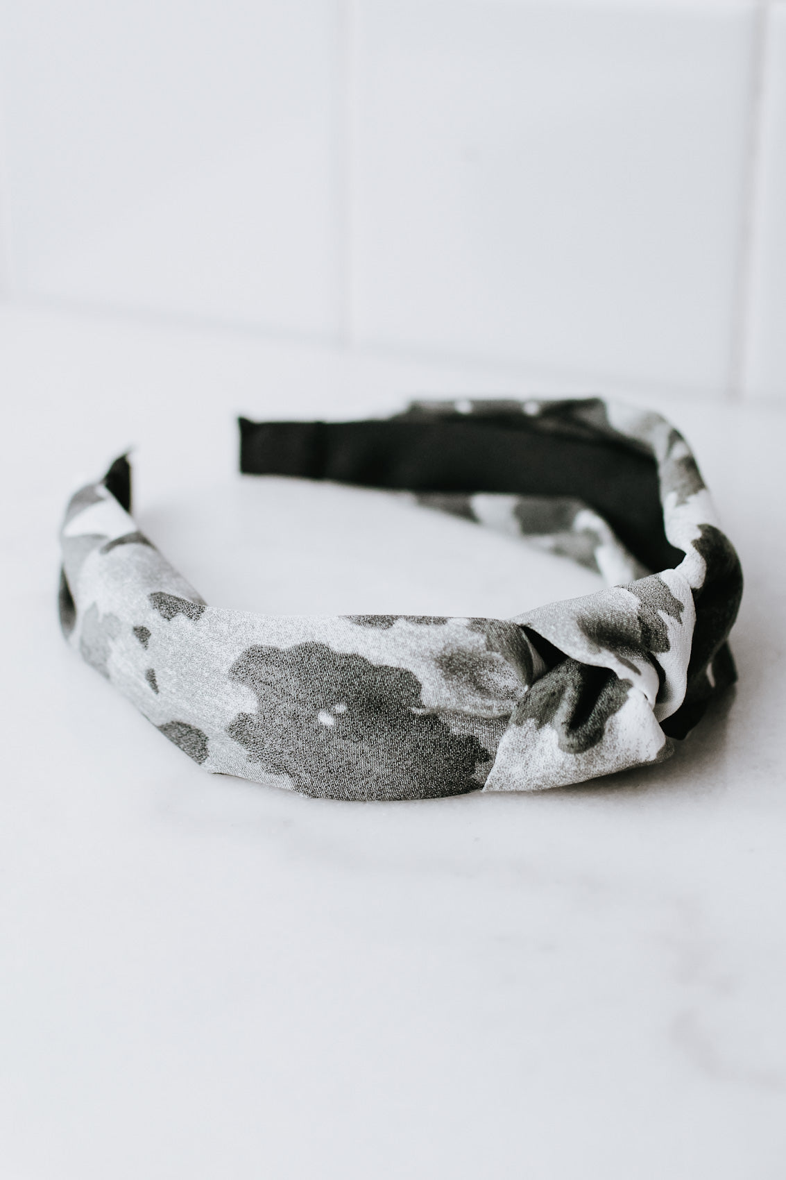 Fabric Camo Knot Top Headband