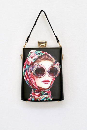 Colorful Retro Face Clutch - Glitz & Ears
