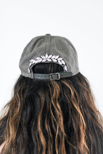 Distressed Almond Stones Strip Baseball Hat - Glitz & Ears