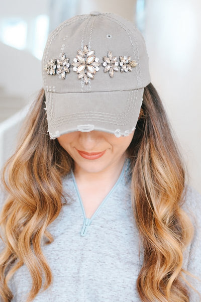 Distressed Almond Brooch Baseball Hat-Glitz & Ears Boutique