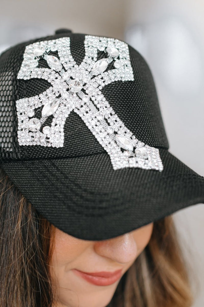 XL Rhinestone Cross Trucker Hat-Glitz & Ears Boutique