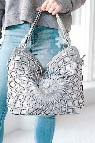 Spiral Rhinestone Flower Purse-Glitz & Ears Boutique