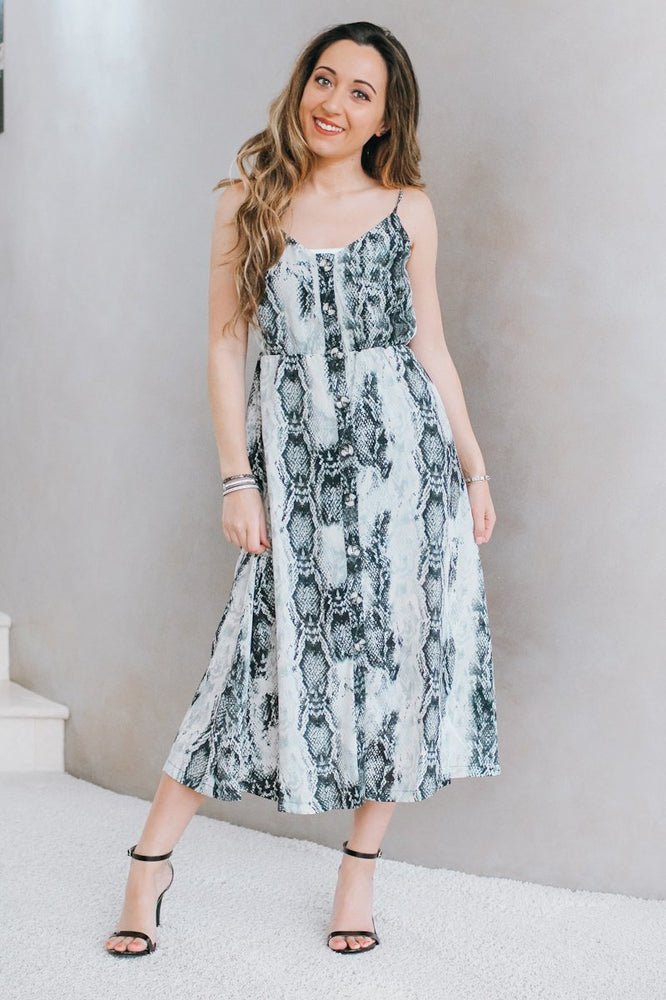 Chiffon Snake Midi Dress-Glitz & Ears Boutique