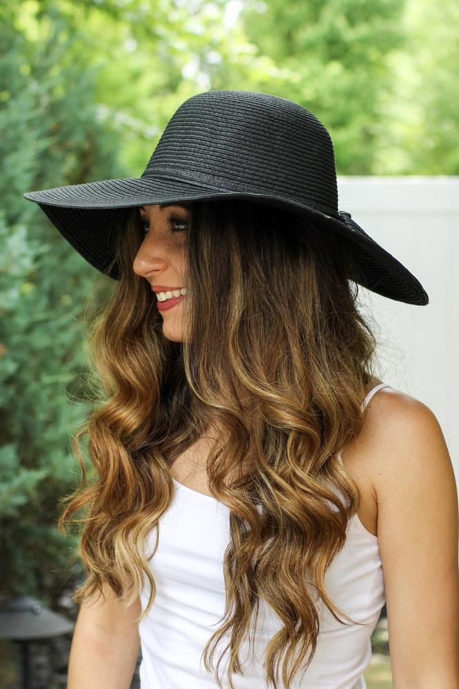 Thin Bow Plain Floppy Hat