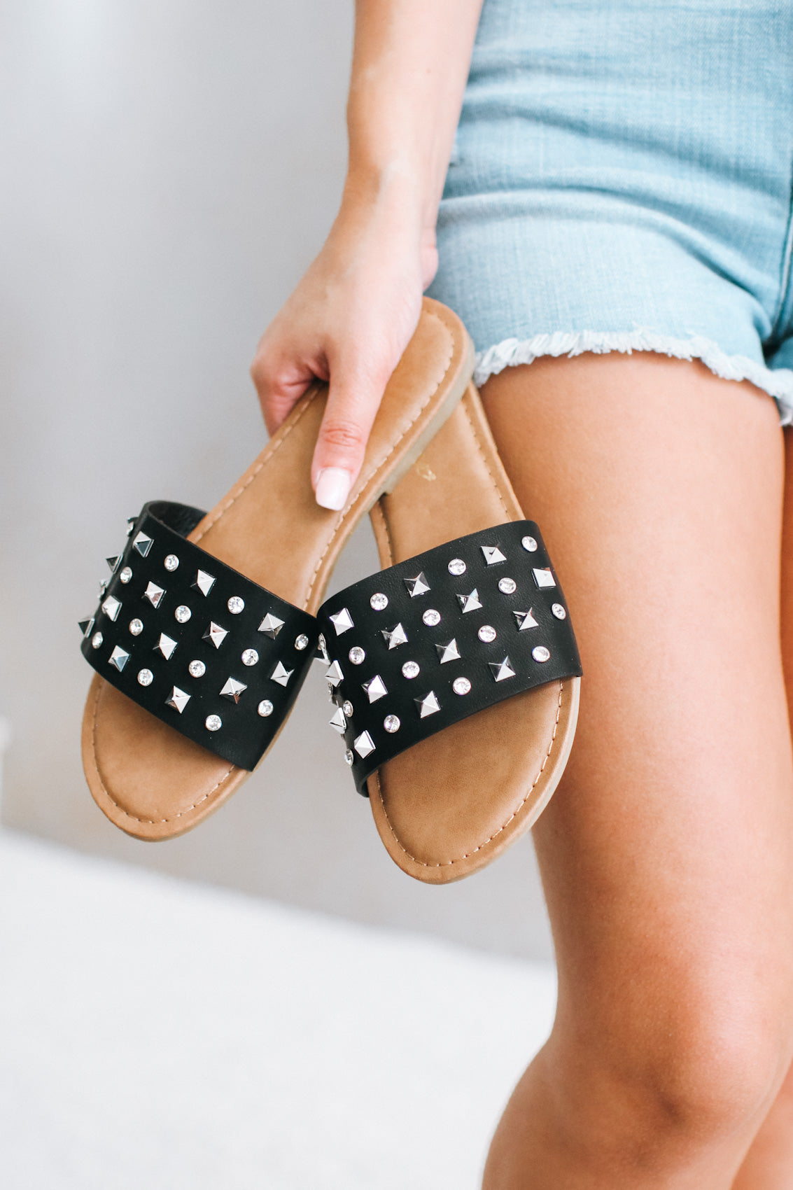 Stud & Rhinestone Leather Slide Sandal