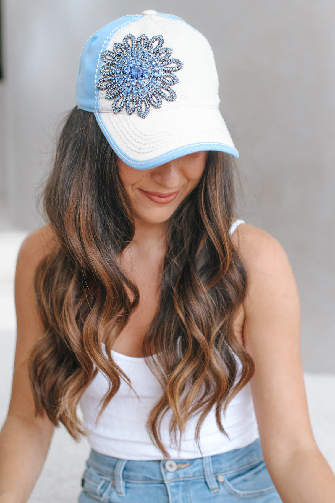 Two Tone Baseball Hat with Large Flower
