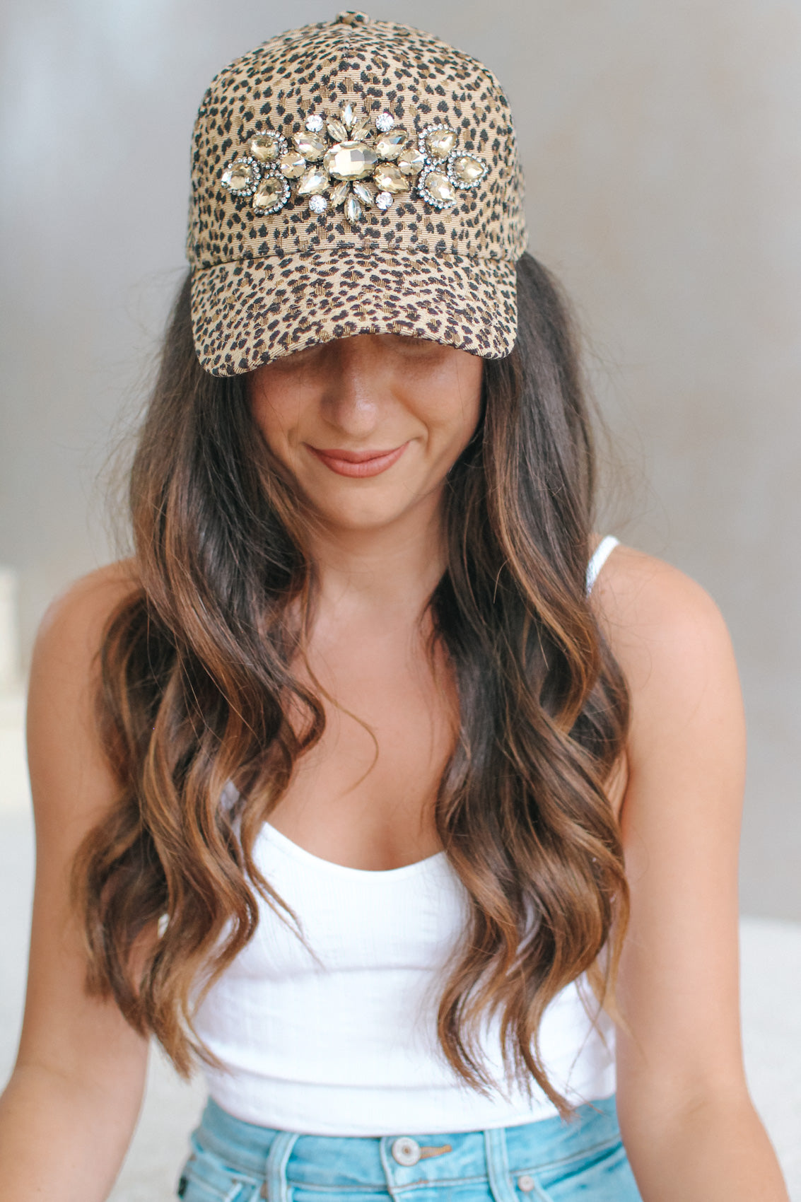 Leopard Baseball Hat with Teardrop Flowers