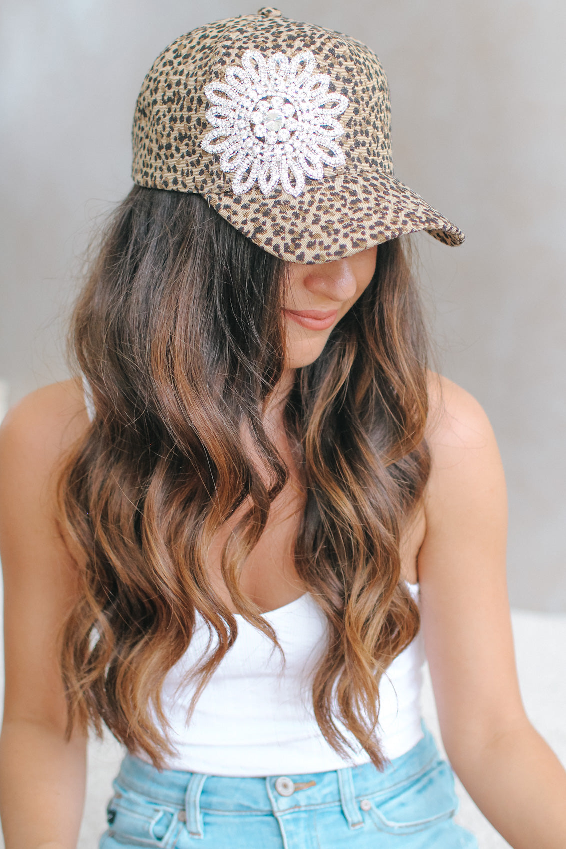 Leopard Print Flower Side Baseball Hat