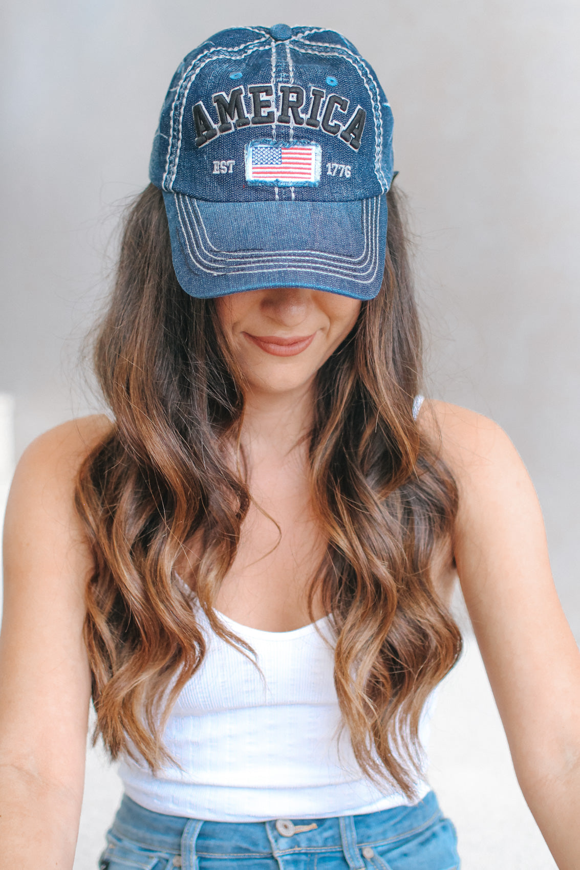 America Denim Baseball Hat