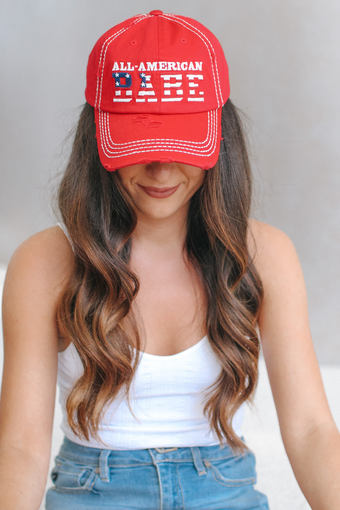 Distressed All American Babe Baseball Hat