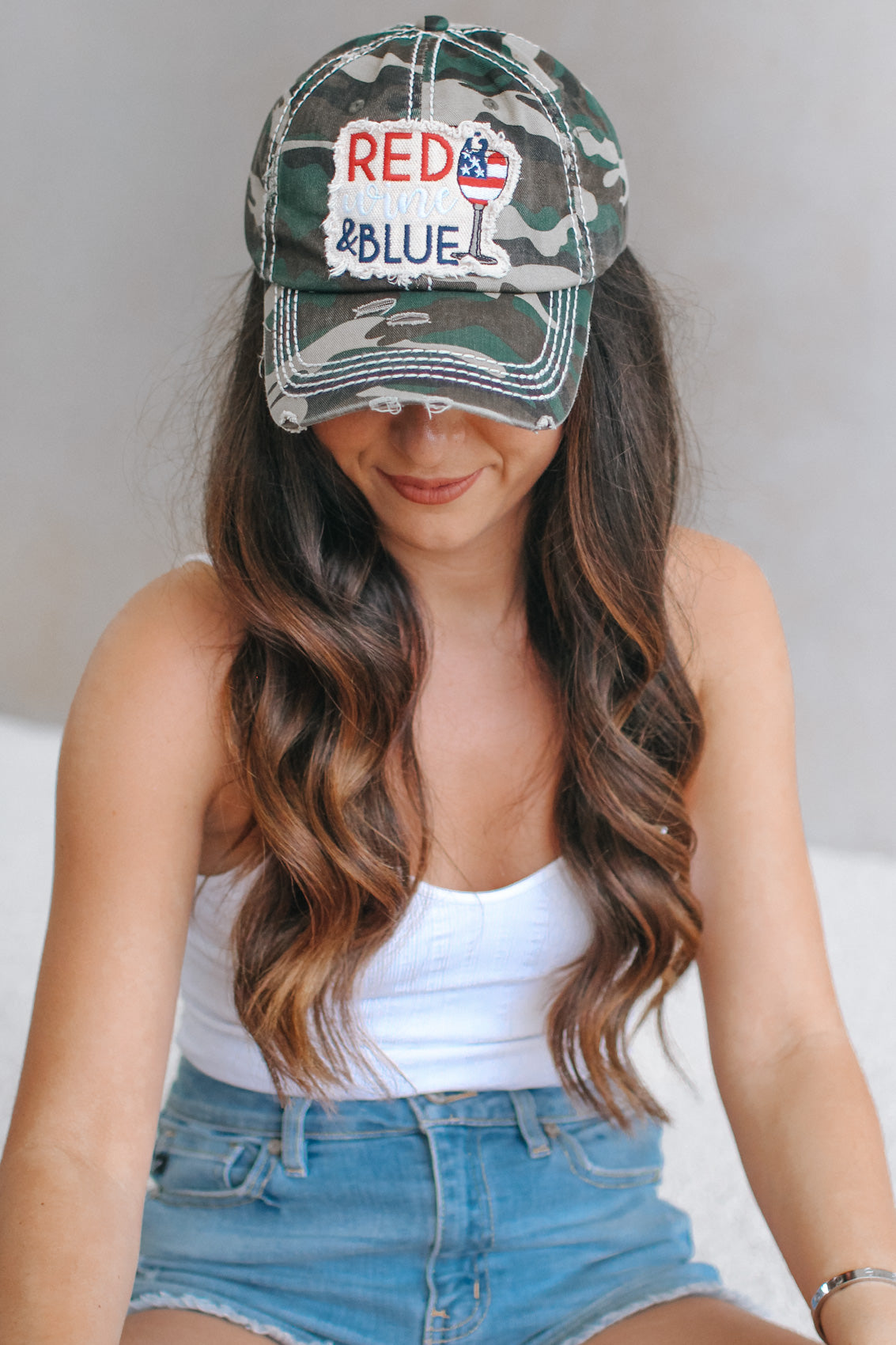 Red, Wine & Blue Distressed Baseball Hat