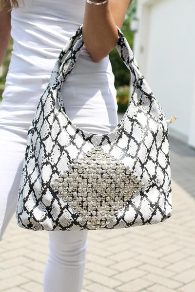 Diamond Middle Snake Hobo Bag - Glitz & Ears