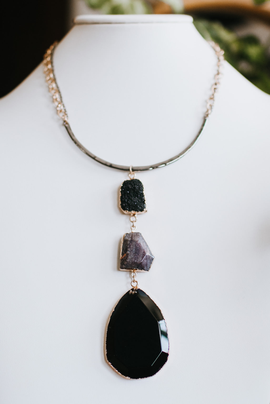 Metal Scoop Druzy & Rock Dangle Necklace